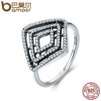 BAMOER High Quality 100 925 Sterling Silver Geometric Lines Clear CZ Finger Ring For Women Anel