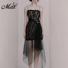Max Spri 2019 New Elegent Black Women Party Spaghetti Strap Backless Floral Lace Sashes Pearl Asymmetrical Hemline Midi Dress