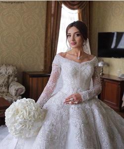 Image 4 - 2020 принцесса, роскошные ювелирные изделия из чистого кружевное свадебное платье в африканском стиле саудовско Аравийский Dubai длинный рукав церкви вечернее платье невесты свадебное платье размера плюс