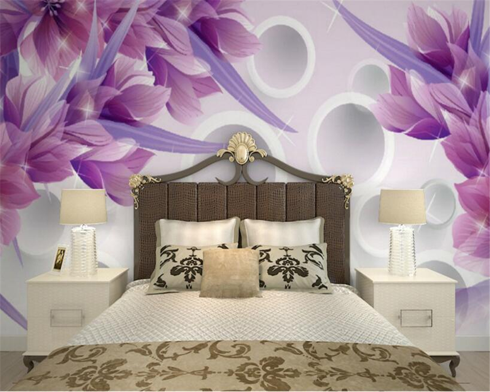 Purple Flower Wallpaper For Bedroom Compare Prices On 3d Wallpaper Natural Flowers Online Shopping