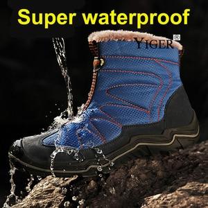 Image 2 - YIGER New Men snow boots winter Man Cotton shoes Zipper Large size 38 46 men leisure hiking shoes Waterproof non slip casual 223