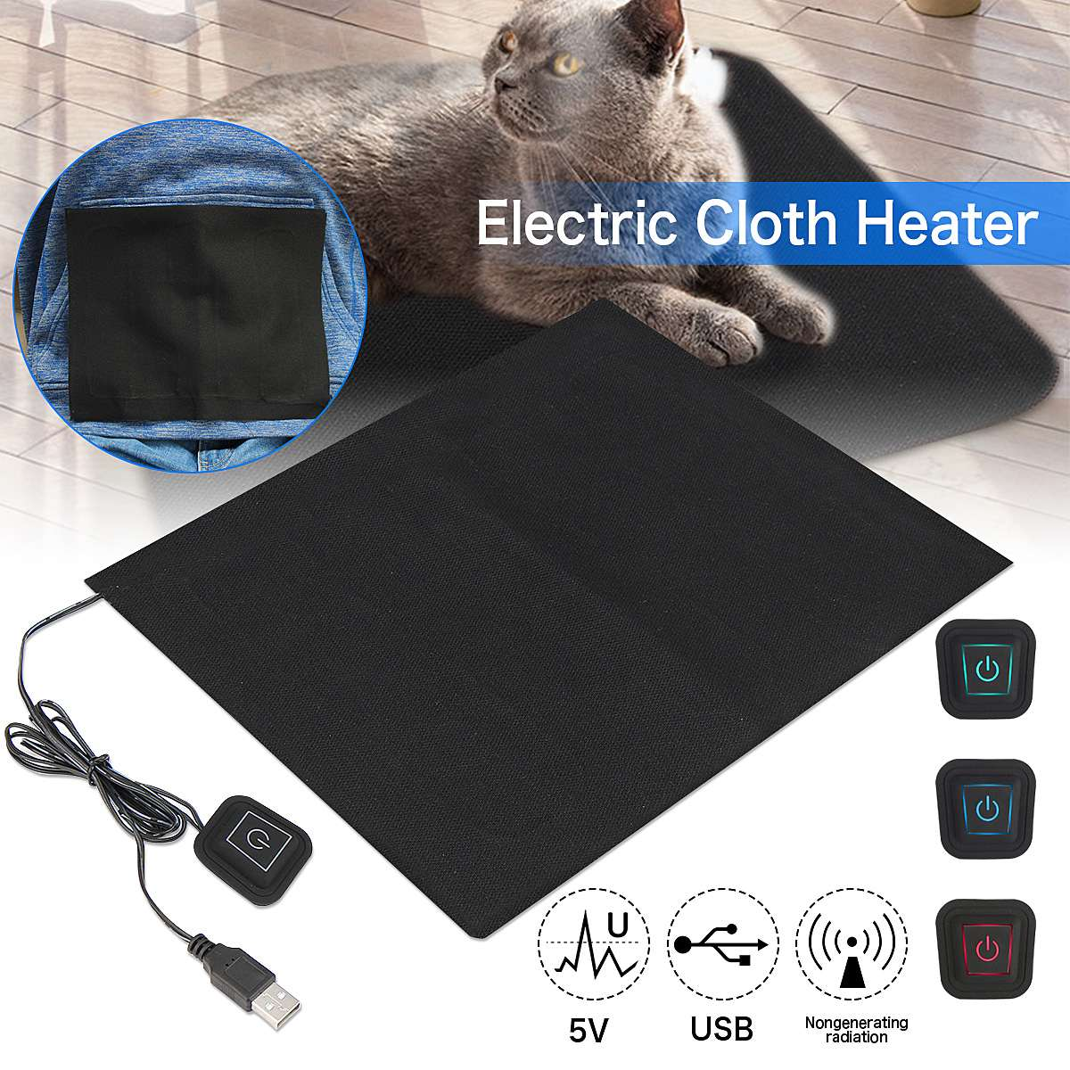 5V USB Electric Clothes Heater Sheet, Winter Heated For Cloth Waist Foot Insoles, Women Men Keep Warm Hand Warmer Heating Tablet 5v usb electric clothes heater sheet adjustable temperature winter heated gloves for cloth pet heating pad waist warmer tablet