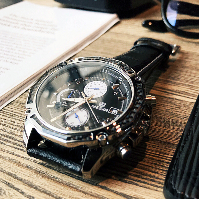 MEGIR Fashion Casual Quartz Wrist Watch Men Luxury Top Brand 30M Waterproof Leather Strap Sports Watches Male Relogio Masculino