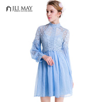 JLI MAY women pink lace two piece dress mini long sleeve Stand hollow out elegant Evening party Blue autumn ladies dresses