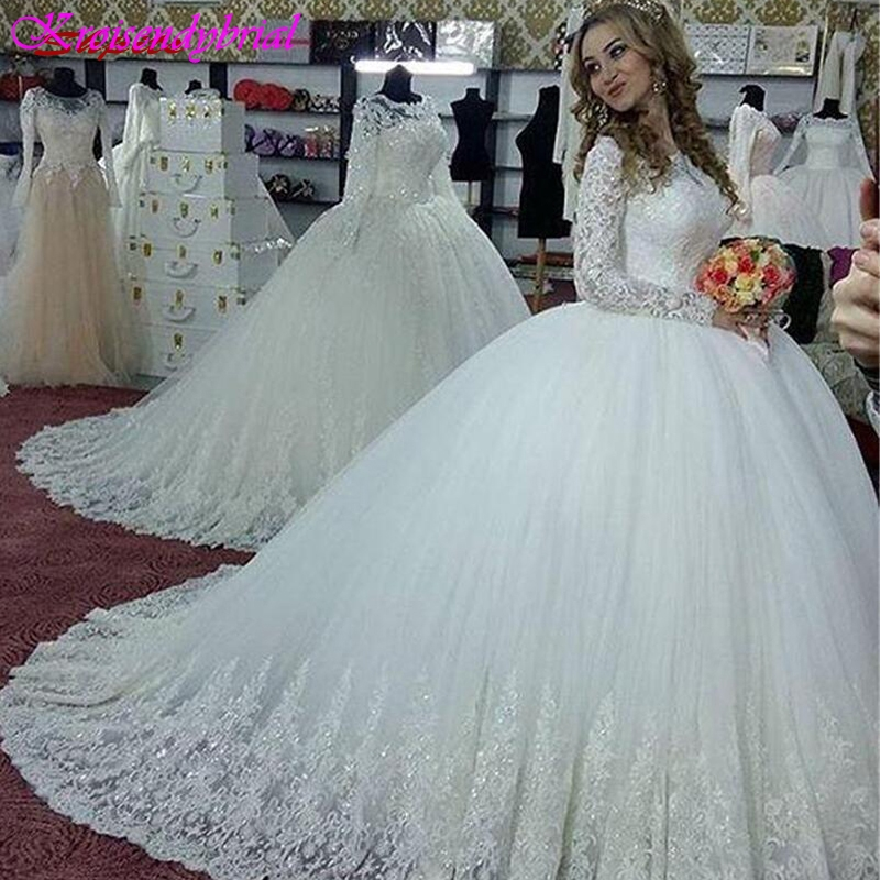 QFS074 Vestidos De Noiva Long Sleeves Princess Wedding Dresses Puffy Vintage Ball Gown Dresses Bridal Gowns
