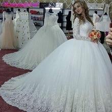 Qfs074 vestidos de noiva 긴 소매 공주 웨딩 드레스 푹신한 빈티지 볼 가운 드레스 신부 가운 가운 2020