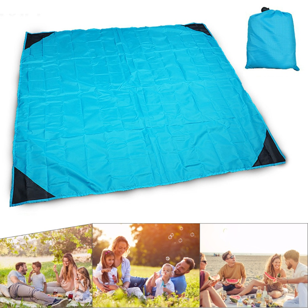 140x150cm Portable Folding Outdoor Waterproof Beach Mat Large Size Camping Picnic Pad Mattress Drawstring Quick Storage Blanket