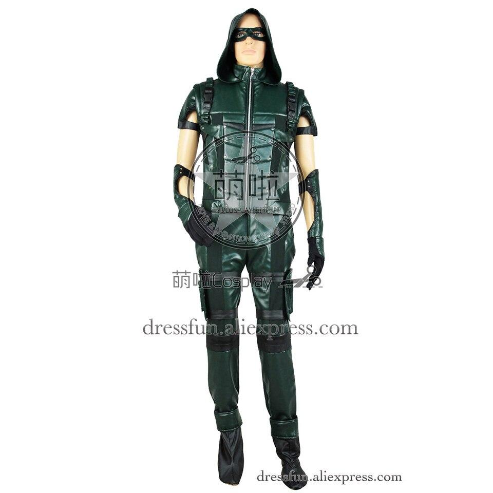 Oliver Queen Green Arrow Cosplay Costume S4 New Combat Uniform Hoodie Male Adult Green Uniform Full Set