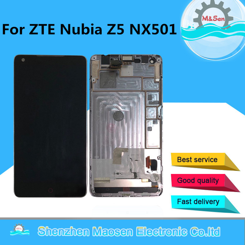 Original M&Sen For 5.0 ZTE Nubia Z5 NX501 nx501 LCD screen display+touch panel digitizer with frame free shipping with tools