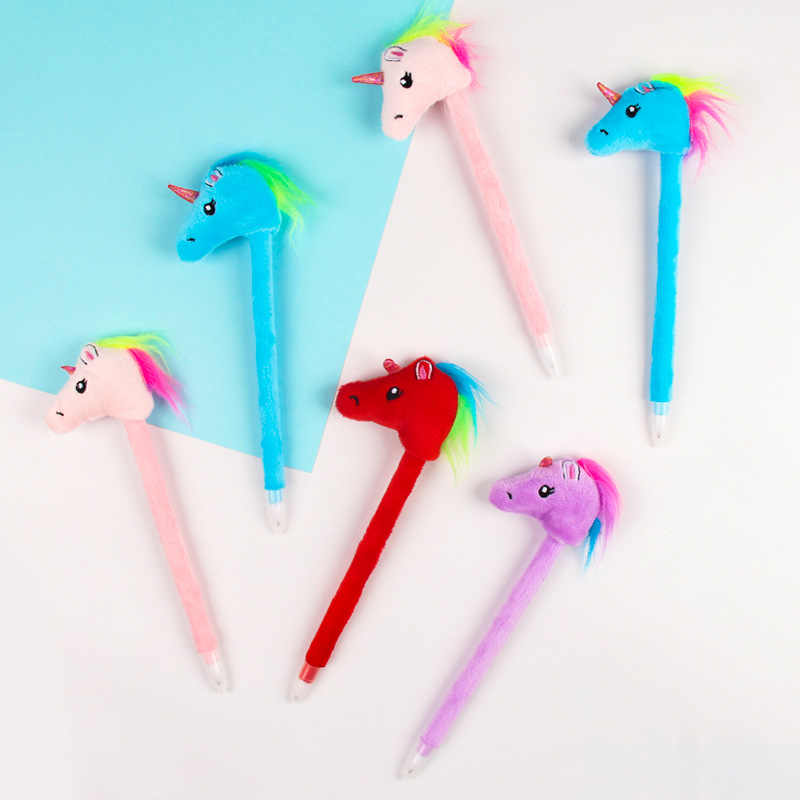 1 Pc Pluszowy jednorożec długopis Pluszowy jednorożec lalki długopis szkolne materiały biurowe prezent papeterii Papelaria Escolar zabawki pluszowe dla dzieci