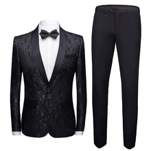 Men's Party / Daily Spring & Fall Plus Size Regular Suits, Floral Peaked Lapel Long Sleeve Cotton / Acrylic / Polyester Black