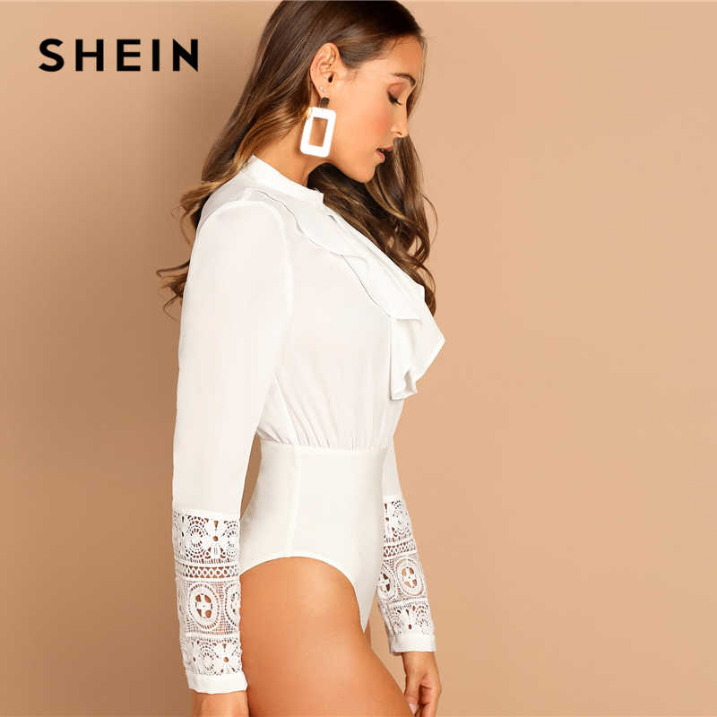 ada2907d78 ... SHEIN White Lace Contrast Ruffle Solid Bodysuit Office Lady Casual  Round Neck Long Sleeve Women Autumn ...