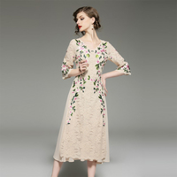 Spring 2018 Flowers Lace Embroidery Dress For Women High Quality V Neck Half Sleeve Slim Female