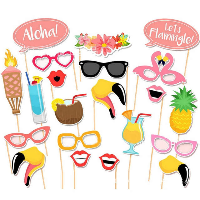 Flamingo Hawaii Themed Summer Baby Shower Photo Booth Props Summer Time  Party Tropical Flamingo Party Decoration