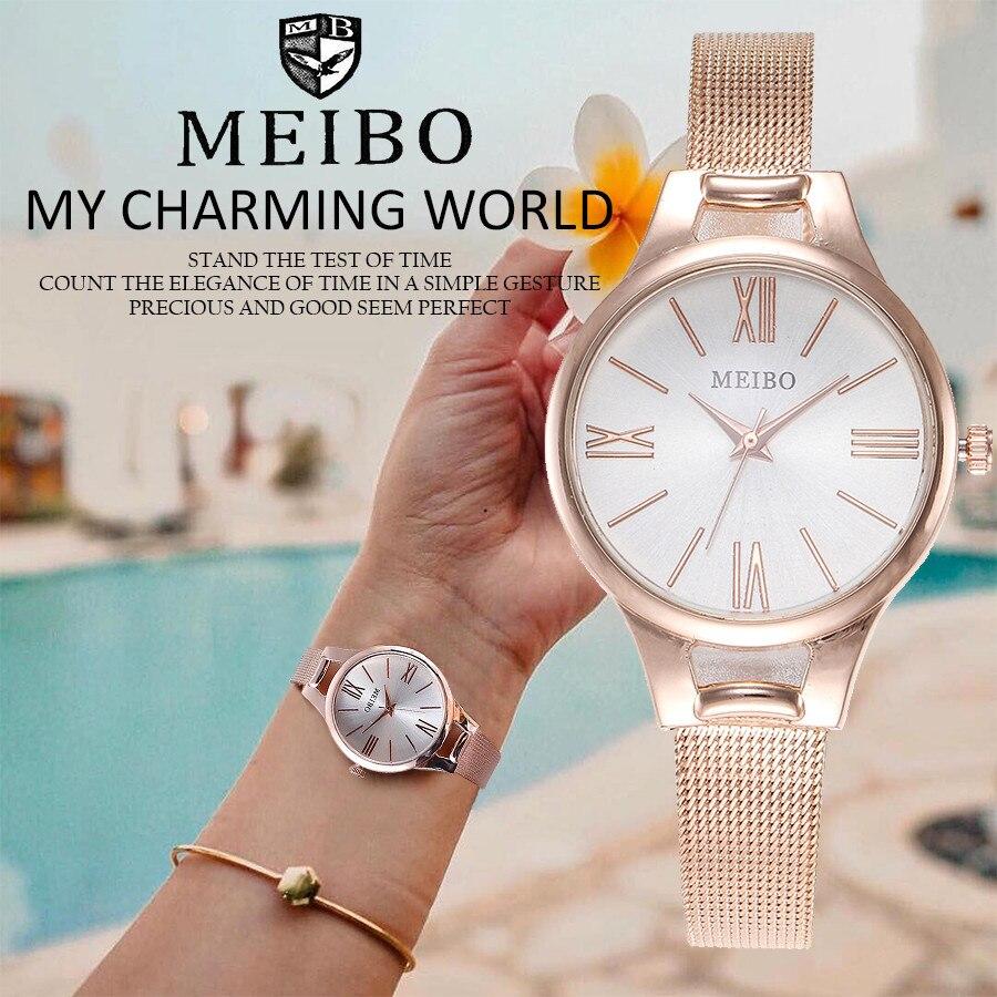 MEIBO Ladies Designer Watches Women's Casual Quartz Stainless Steel Newv Strap Watch Analog Wrist Watch Relogio Feminino Gift Q