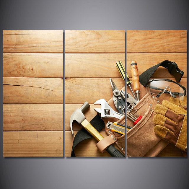 Online Shop 3 Piece Canvas Art Hand Tools Wooden Poster HD Printed ...