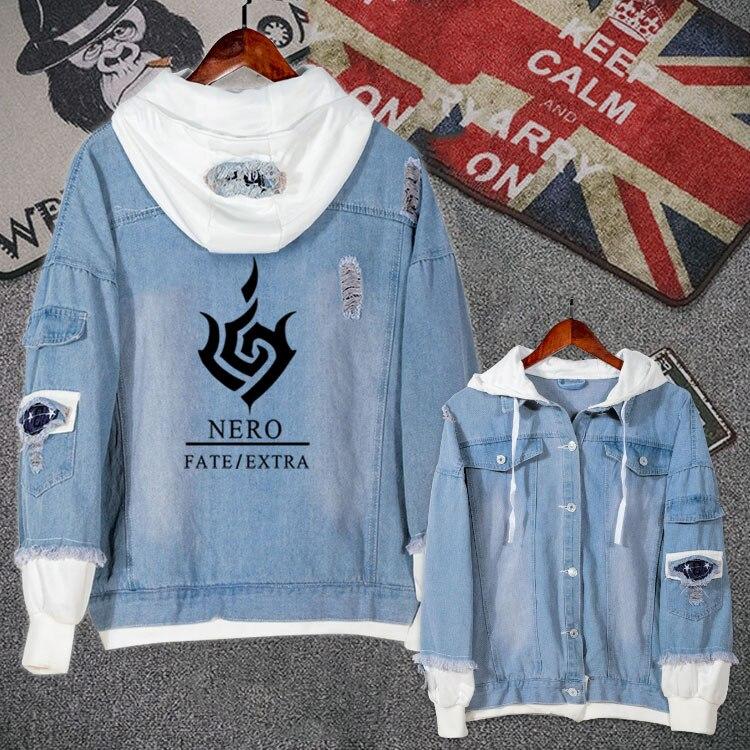 Anime Fate/EXTRA Jeans Coat Teen Boy Girls Autumn Winter Casual Zipper Jacket Hooded Sweatshirt Unisex Fashion Denim Outwear Top