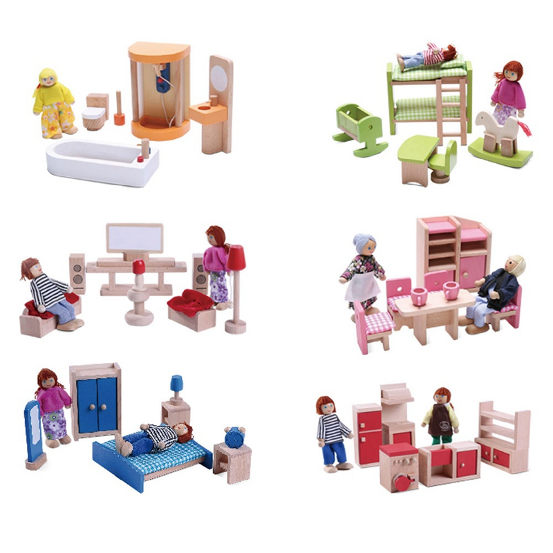 Kids Bedroom Furniture Kids Wooden Toys Online: Wooden Pretend Toy Play House Furniture Miniature Bed