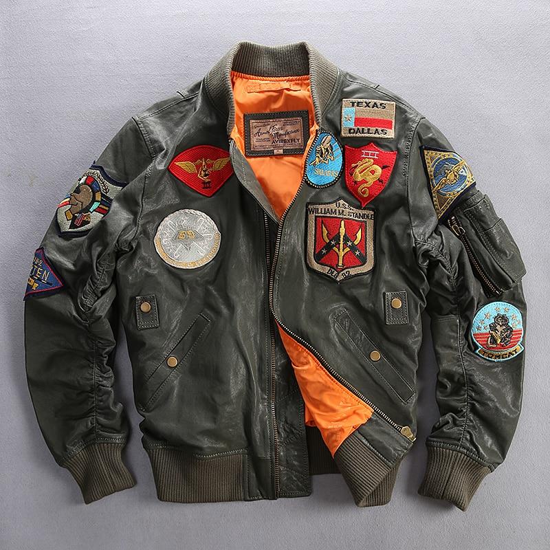 AVIREXFLY 2018 nuevos hombres f3 vuelo chaqueta Casual de la Fuerza Aérea de cabra chaquetas tamaño asiático de cuero genuino chaqueta abrigos