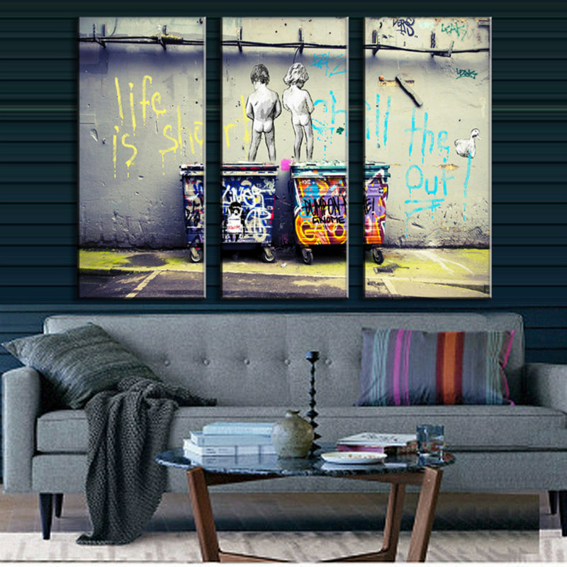 3 Pieces Wall Art 3 Pcs/Set Banksy Art Life Is Short Chill The Duck Out 3 Picture Combinational Oil Painting On Canvas W0096