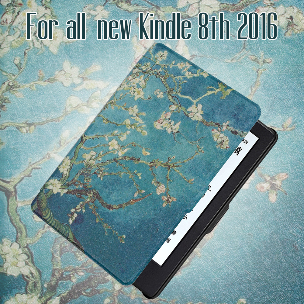 все цены на For All-New Kindle 8th generation 2016 Release PU Leather Case with auto wake/sleep function+screen protector+stylus pen