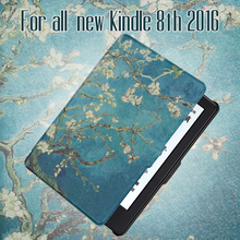 For All-New Kindle 8th generation 2016 Release PU Leather Case with auto wake/sleep function+screen protector+stylus pen