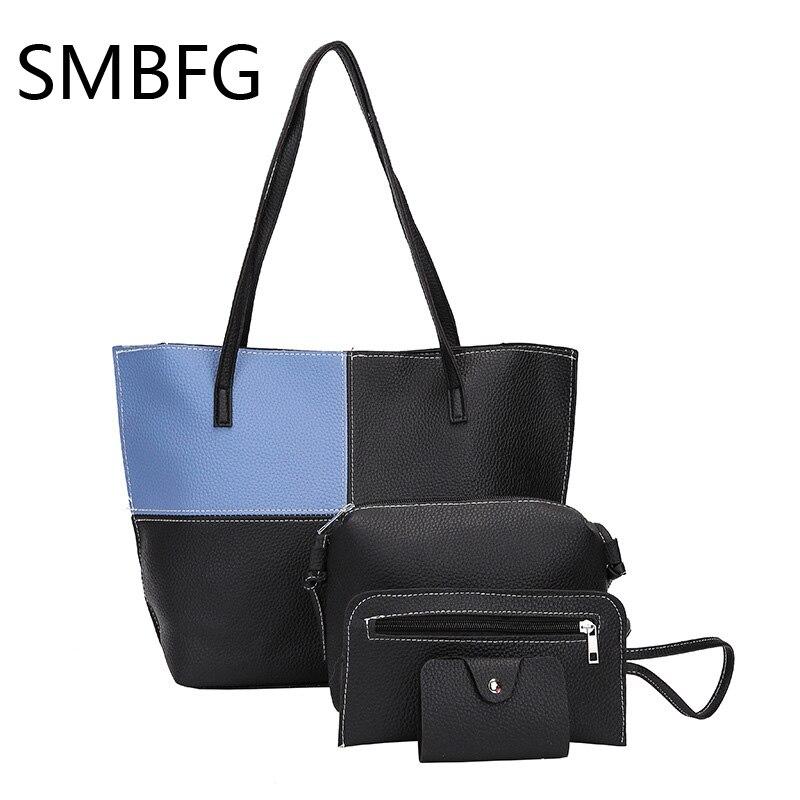 Bag Set for Women Soft PU Femme Designer Messenger Shoulder Bags shopping Crossbody Bag Handbags 4 Piece Set