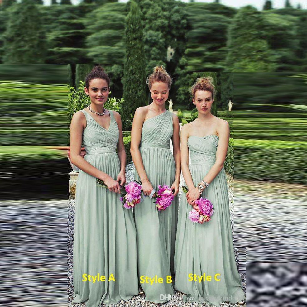 Perfect Long Chiffon Bridesmaid Dresses Grayed Jade A Line Pleated Bridemaid Dress V Neck Party Prom Gown Modest 2016 In From