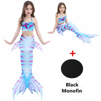 Girls Mermaid Tails With Black Monofin Swimwear Cosplay Costumes Baby Children Bikini Kids Swimsuit Halloween swimming costumes