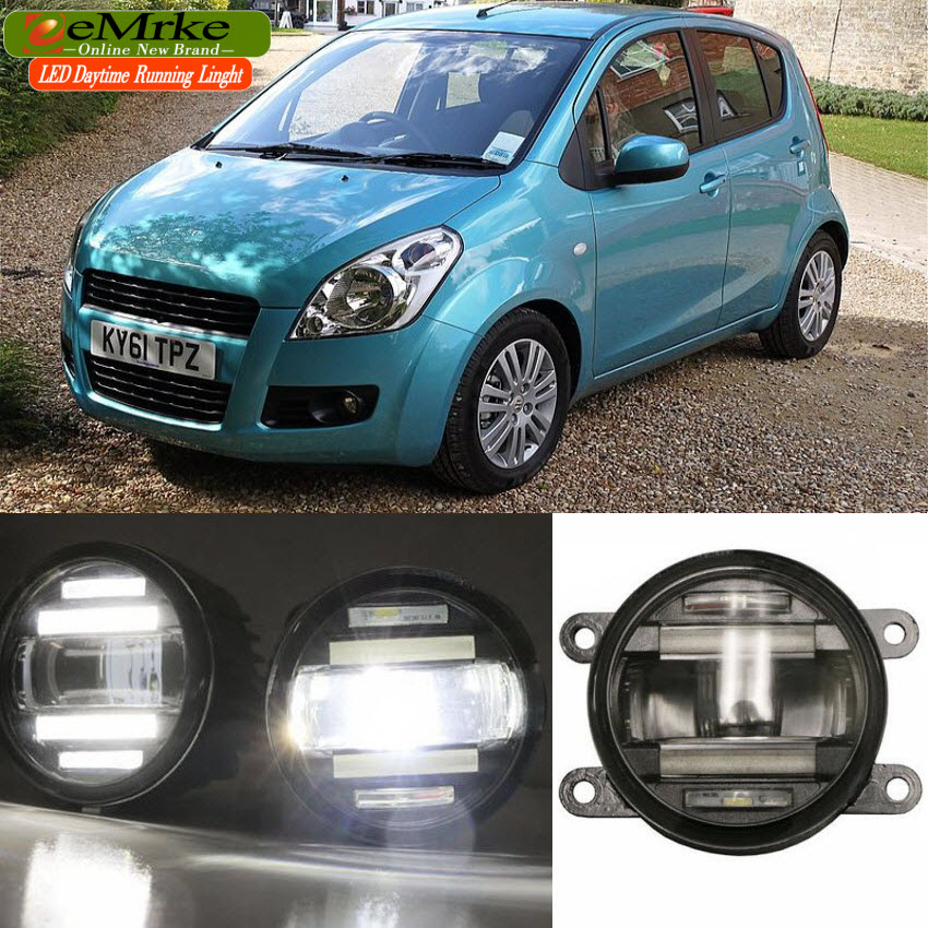 eeMrke Xenon White High Power 2in1 LED DRL Projector Fog Lamp With Lens For Suzuki Splash 2008-up eemrke xenon white high power 2in1 led drl projector fog lamp with lens for suzuki sx4 2008 2016