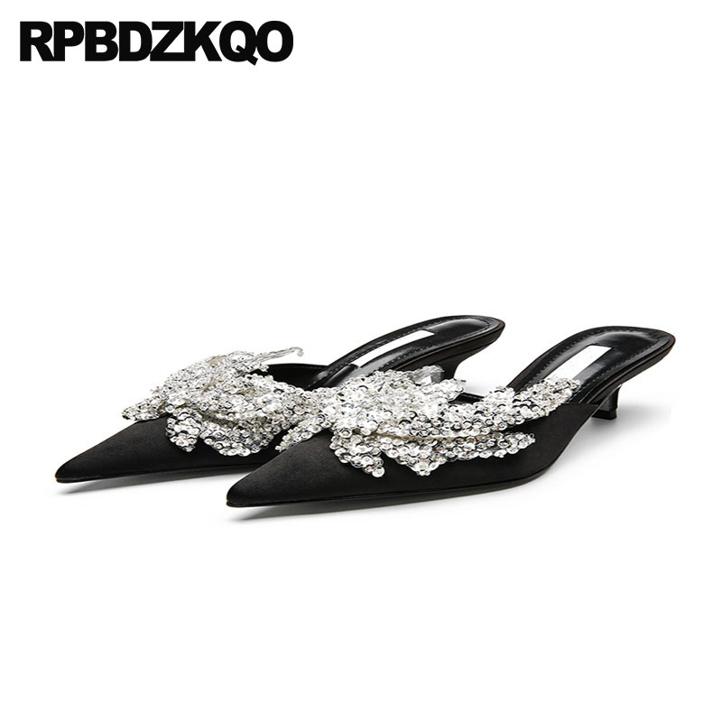 891bfa29fa0d Sandals Crystal Wedding Shoes 2018 Medium Heels Kitten Pumps Mules Slipper Black  Pointed Toe Rhinestone Ladies High Blue Satin