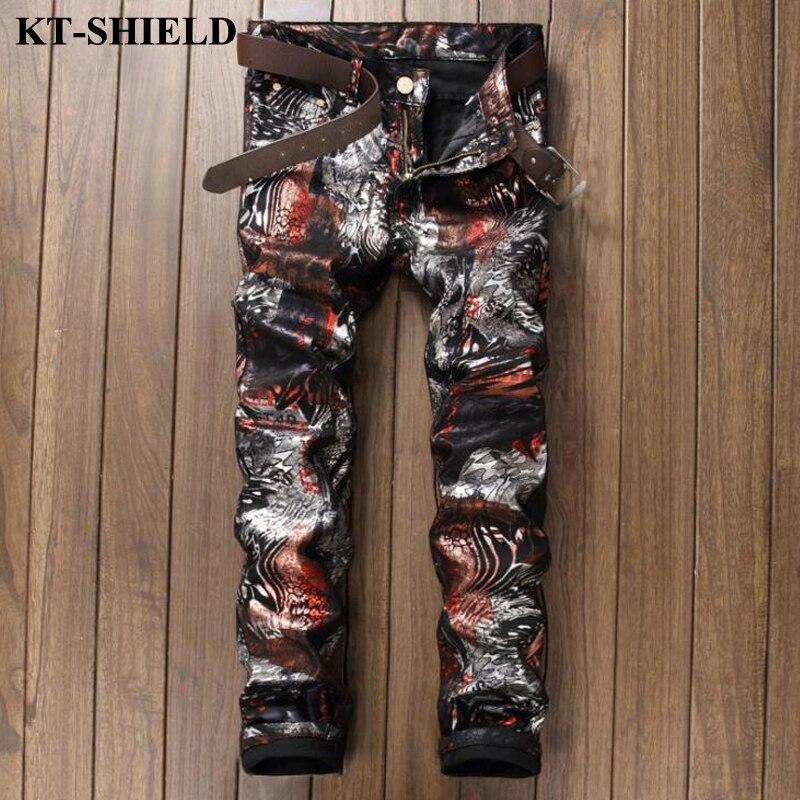 Men Jeans Denim Pants Printed Fashion Biker Pants Masculina Casual Trousers Famous Brand Vaqueros Hombre Slim