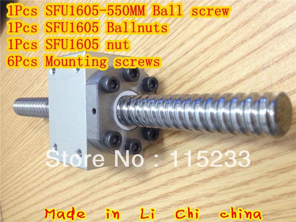ФОТО NEW goods: the 1pcs ballscrew SFU1605  = 550MM & 1pcs Ballscrew Nut Housing Bracket Holder for RM1605 & 1Pcs SFU1605 ball nuts
