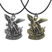 2019 New Vintage Bible Angel St. Michael Pendant St. Michael Pray for Us Pendant and Necklace 3D Angel Wings Jesus Necklace Gift a suit of vintage cross wings pendant necklace and earrings for women