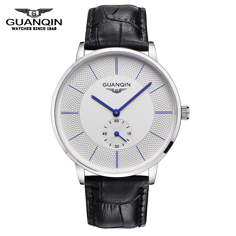 Original Big Dial GUANQIN  Watch Men Luxury Brand Quartz Watch Fashion Business Casual Wristwatch Leather Male Watches Clock