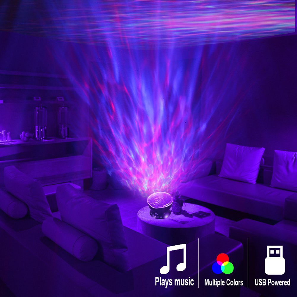 Ocean Wave Projector Star 7 Color LED Night Light Baby Star Luminaria With Music Player Remote Control Night Lamp For Kid
