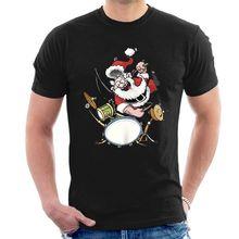 SANTA CLAUS DRUMMER ROCK STAR T-SHIRT xmas christmas tee paiste zildjian A12 New T Shirts Funny free shipping zildjian classic sweat shirt m