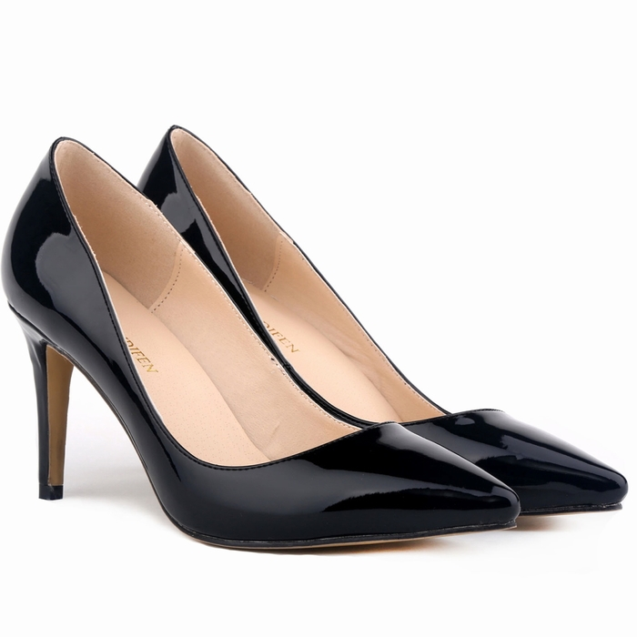 LOSLANDIFEN lady Women Patent Leather fashion MID high heels ...