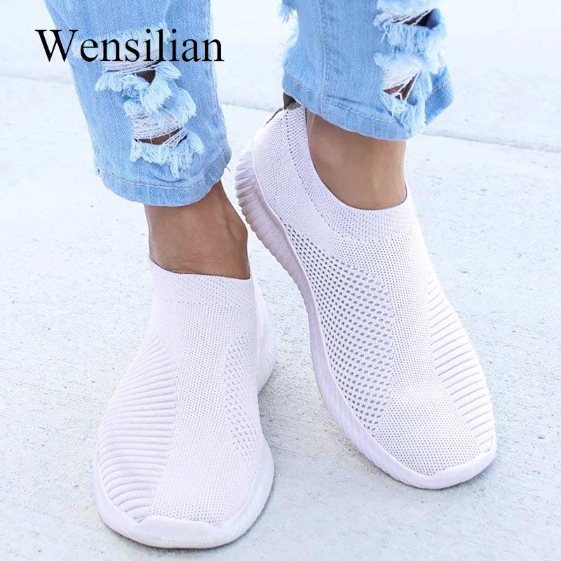 Летние кроссовки для женщин Treainers трикотажные вулканизированные обувь сетки воздуха слипоны носок обувь для улицы прогулки zapatos mujer|Кроссовки и кеды|   | АлиЭкспресс