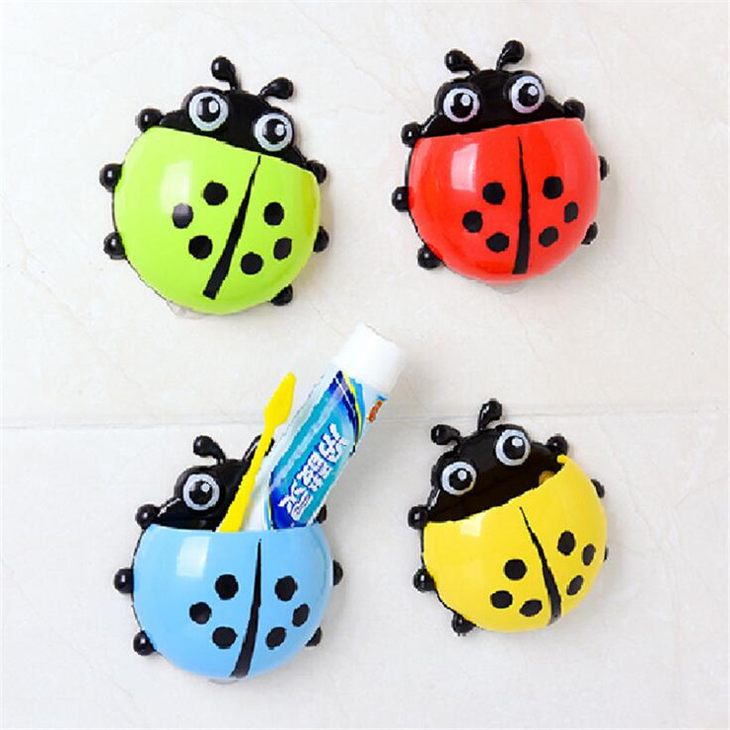 1pc Cute Novelty Ladybug Toothbrush Holder Toiletries Toothpaste Holder Bathroom Sets Suction Tooth Brush Container Bathroom Shelves