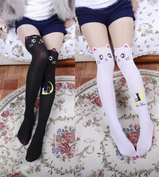 0119879138df4 Anime Sailor Moon Luna Cat Stockings Lolita Printed Pantyhose Over Knee  Socks
