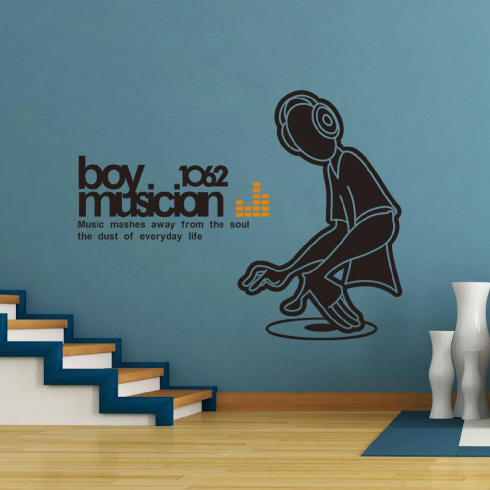 Boy Musicion Wall Sticker Peel And Stick DJ Boy Wall Decal Quotes - How to make vinyl wall decals stick