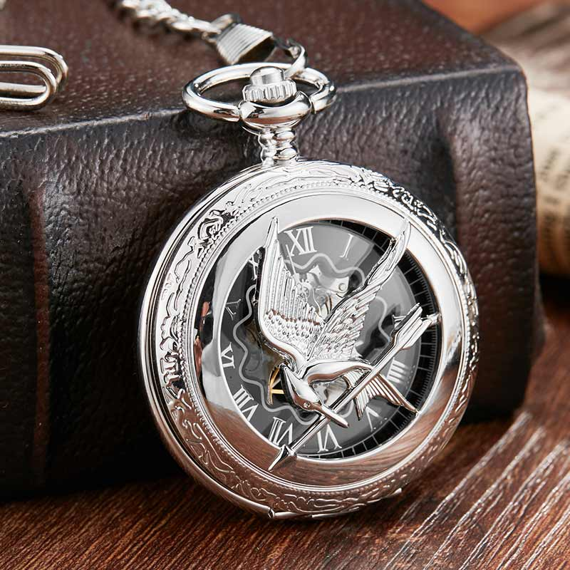 Vintage Silver Hollow Hunger Game Steampunk Mechanical Pocket Watch & FOB Chain Antique Watches Clock Hand Wind Relogio De Bolso