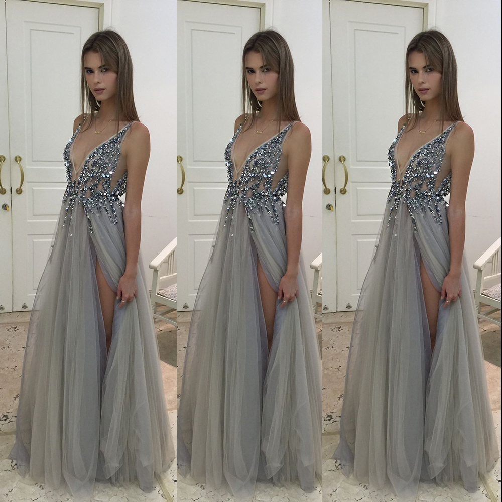 055c6015d7a05 Glamorous Gray Sequined Tulle Evening Dress High Slit Beaded Sheer Evening  Dress Fashion Deep V Neck Prom Party Gowns PE25-in Evening Dresses from  Weddings ...