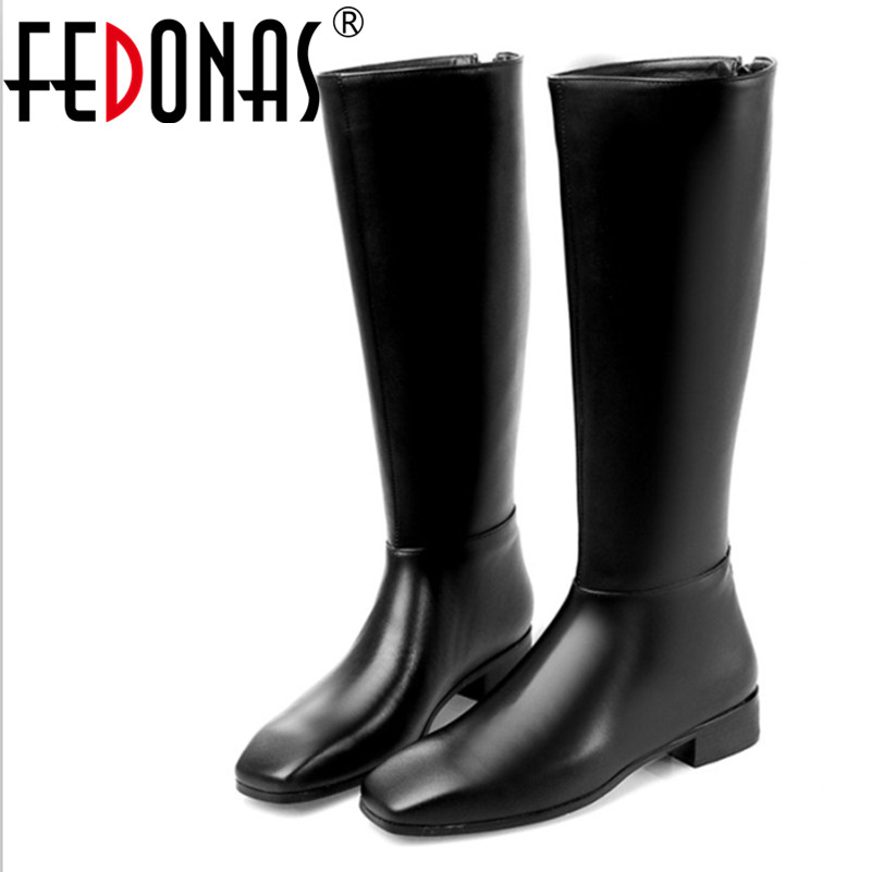 FEDONAS Genuine Leather Long Shoes For Women Knee High Snow Boots High Heel Shoes Winter Warm Boots Femme Bottes Mujer Botas ppnu woman winter nubuck genuine leather over the knee snow boots women fashion womens suede thigh high boots ladies shoes flats