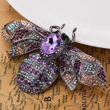 New Arrival Big Insect Brooches Jewelry vintage Broaches Women Party Anniversary Jewelry Rhinestone Pin Brooch Hijab Accessories