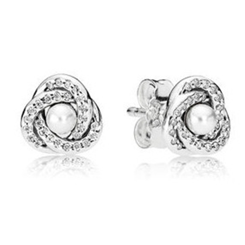 Trendy Authentic 925 Sterling Silver Pandora Earrings For Women Luminous Love Knot Earring Studs Fine Lady Europe Jewelry Gift in Stud Earrings from Jewelry Accessories