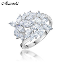 AINUOSHI Classic 925 Sterling Silver Flower Wedding Engagement Anniversary Cute Rings Silver Women Bridal Rings anillos de boda