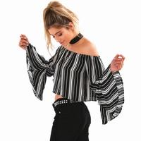 GT120 Women 80 S Retro Strip Print Slash Neck Flare Sleeve Off Shoulder Blouse Shirt Cropped