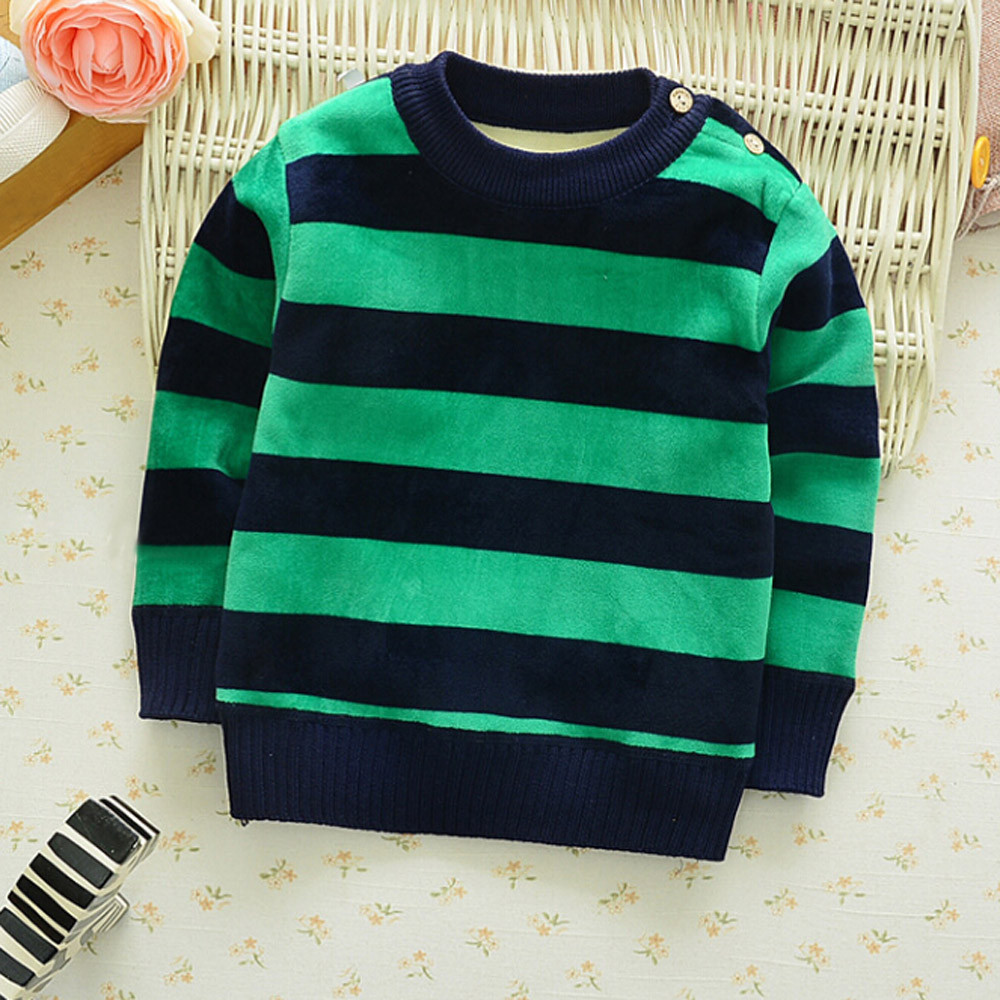 12M-4T Kids Baby Boys Sweatshirts Stripe Long Sleeve Warm O-neck Tops Winter suit clothing childrens New Years costume